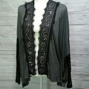 BKE boutique gray open cardigan beaded